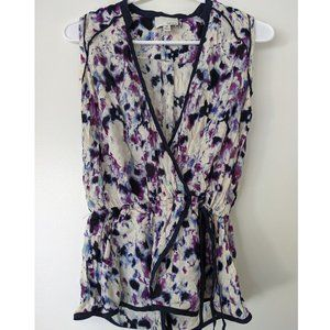 NEW Greylin white/purple printed faux-wrap tank